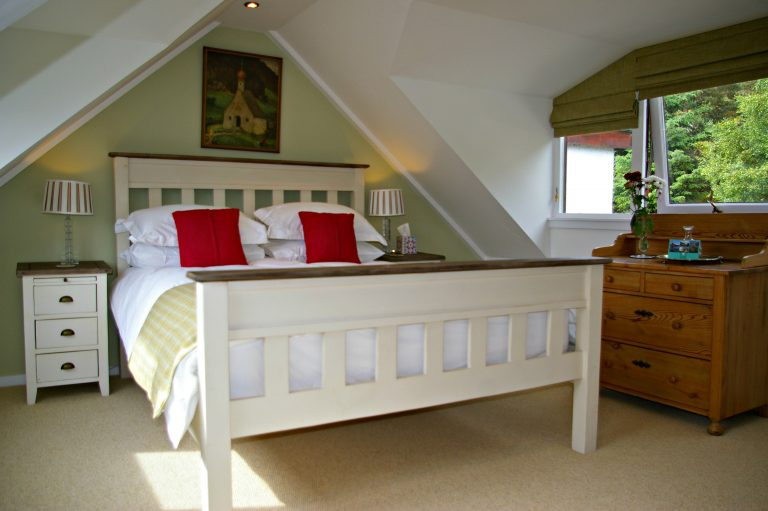 Cassley king size bedroom overlooking the Kyle of Sutherland